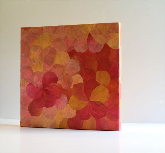 PInk petals home decor, a watercolor on silk abstract collage