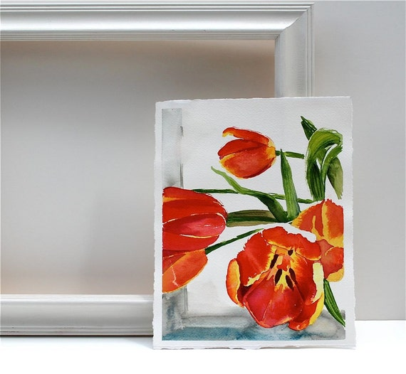 "Red Flower Painting spring ""Tulip Study""- an original watercolor painting, valentines gift"