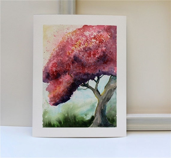 Pink storybook style painting Flowering Tree- Fine art reproduction print