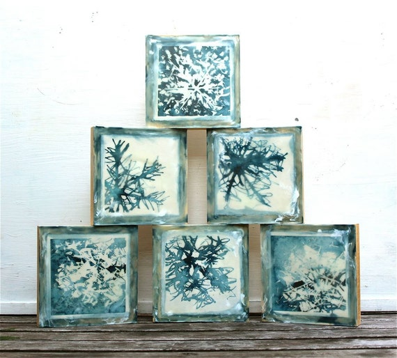 snowflake painting, watercolor and encaustic- holiday decor, abstract, blue white cream on wood