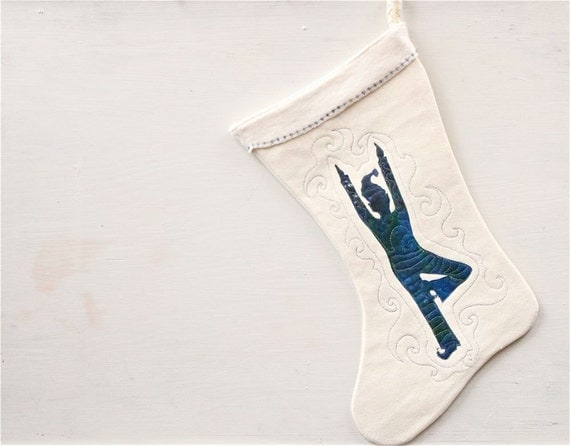 Yoga Elf Christmas Stocking, modern eco friendly hemp, hand painted, quilted, blue, cream