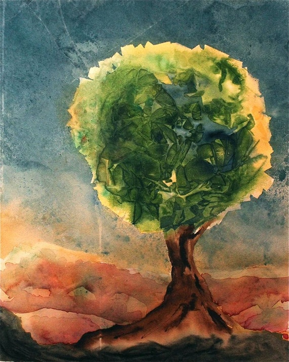 original watercolor painting tree, sky, sunrise, story book nursery art, landscape green blue brown