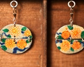 Antique Tin Earrings, Half Moon Ovals