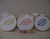 50% off this item, enter LOVE99 at checkout, Fall Leaves, Set of 3, Hand Embroidere, Hand Stitched Leaves, Autumn Leaves, Embroidery