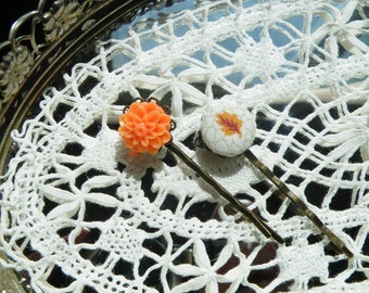 50% off this item, enter LOVE99 at checkout, Fall Bobby Pins, Set of 2, Bobby Pins, Leaf Bobby Pin, Orange Flower