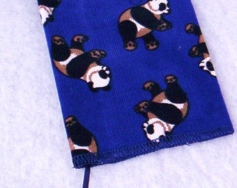 Corduroy Fabric Book Cover with Pandas And Bookmark On Sale