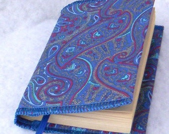 Paisley Book Cover Made From Vintage Fabric And Bookmark On Sale