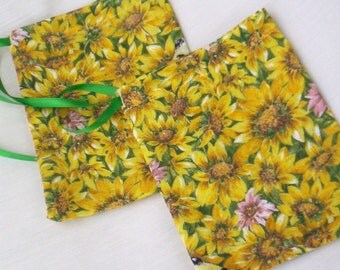 Ecofriendly Fabric Bags With Sunflowers Set Of Two