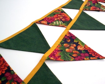 Long Colorful Nature Inspired Fabric Garland Double-sided Bunting