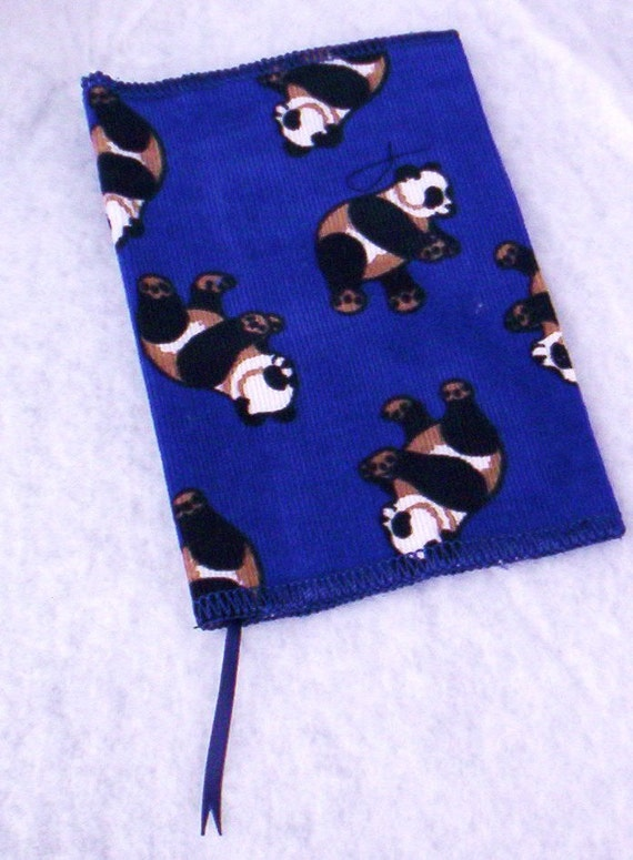 Fabric Book Covers For Sale : Corduroy fabric book cover with pandas and bookmark on sale