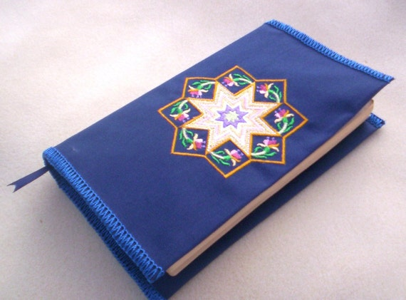 Kaleidoscope Embroidery On Fabric Book Cover With Bookmark On Sale