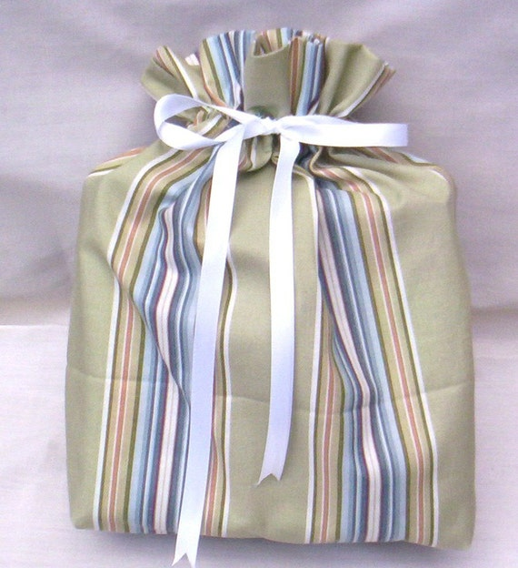 Medium  Size Ecofriendly Green And Blue Striped Fabric Gift Bag