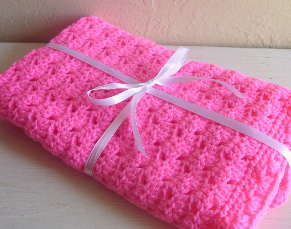 Hot Pink Handcrochet Doll Blanket Tied with White Ribbon