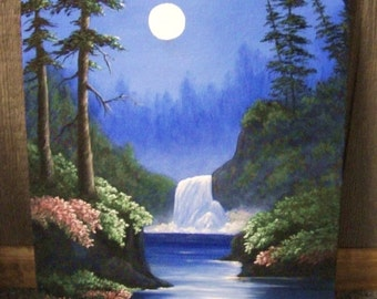Waterfall in the Moonlight, Lake, River, Night, Trees, Landscape oil painting