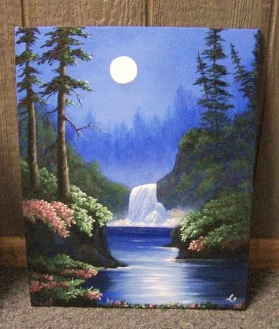 Waterfall in the Moonlight, Lake, Flowers, Fantasy, Woods, Forest, Night, River, Night, Trees, Landscape oil painting