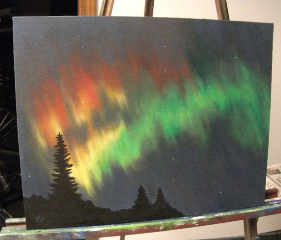 Northern Lights Over The Forest Original Oil Painting