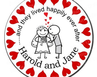 Happily Ever After Bride and Groom Wedding Glossy Round Personalized Stickers - Set of 100