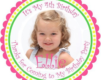 Personalized Birthday Photo Stickers - Set of 100 Round Glossy Labels