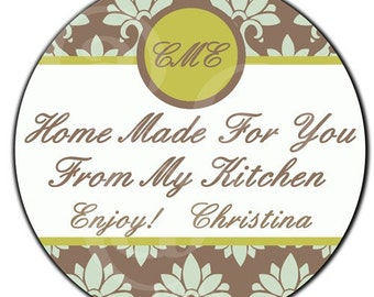 Personalized Monogram and Damask From The Kitchen Of Designer Labels - 100 GLOSSY 2 Inch Round Stickers
