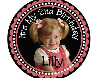 Personalized Photo Birthday Designer Labels - 100 glossy 2 Inch or 2.5 inch or 3 inch photo stickers