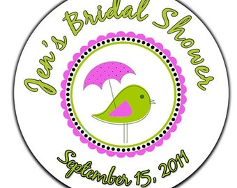 Personalized Mod Bird With Umbrella Bridal Shower Designer Labels - 100 GLOSSY 2 Inch Round Stickers