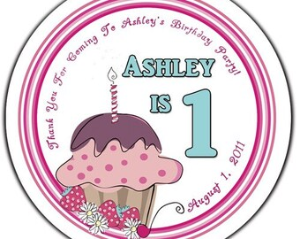 Whimsical Personalized Birthday Cupcake Round Glossy Labels