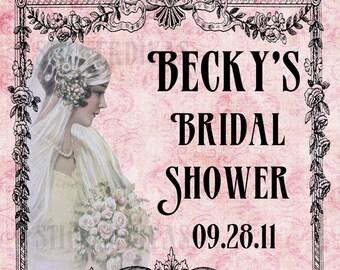 Art Deco Bride Persoalized Bridal Shower Glossy Designer Labels
