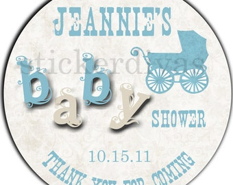 Personalized Baby Shower Teal Stroller and Ivory 2 Inch Round Designer Glossy Labels