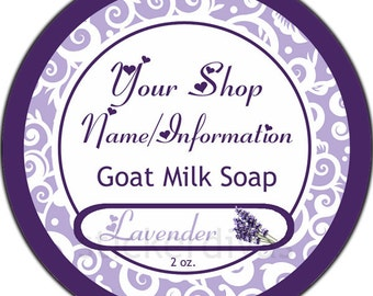 Custom Labels Bath Beauty Soap Product Shop Thank You Favor Address Glossy Round Stickers Lavender Goat Milk Soap