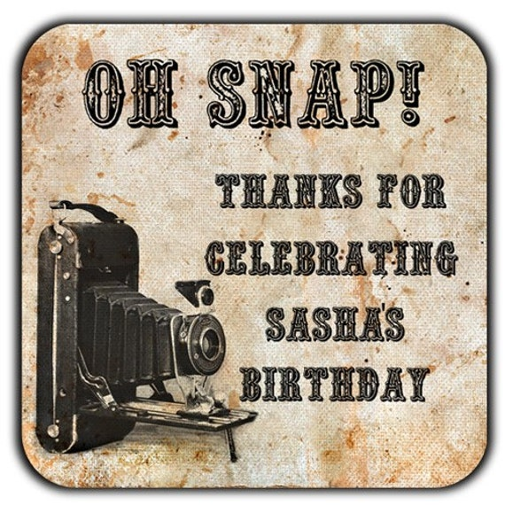 Oh Snap Personalized Vintage Grunge Camera 2 Inch Square Glossy Labels - Weddings, Birthdays, Address Labels, Any Occasion