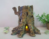 Tree Stump Fairy House and/or Night Light, Handmade on the Potters Wheel