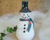 Snowman  - Stopperless Salt  Shaker -  Handmade on the Potters Wheel, Hand Painted Winter Decoration