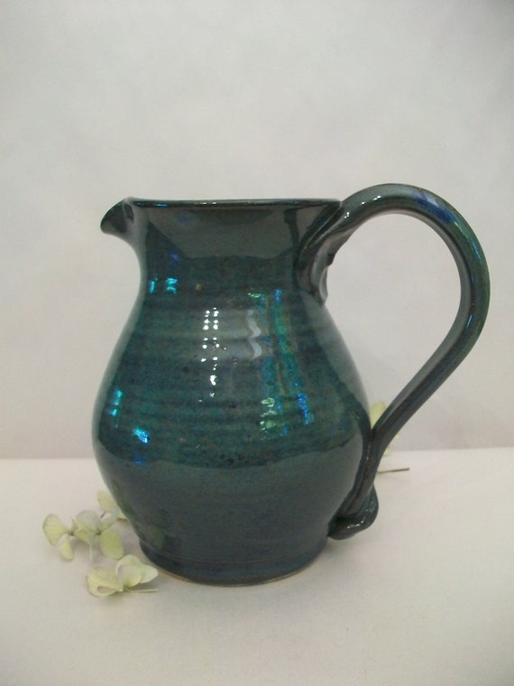 Teal Pitcher - Handmade on the Potters Wheel