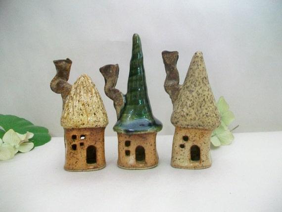 Garden Fairy Houses - New Square Design - Set of 3 - Handmade, Wheel Thrown