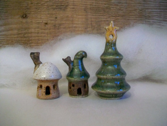 Mini Fairy Garden Houses and a Christmas Tree with a Star  - Set of 3 - Wheel Thrown