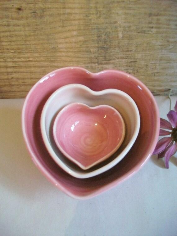 Order for Rebekah ----- Heart Bowls - Larger Size - Set of 3, Handmade, Shades of Pink