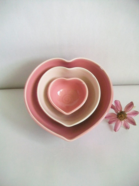 Heart Bowls - Larger Size - Set of 3, Handmade, Shades of Pink - Ready to Ship - Actual Set - GV-1