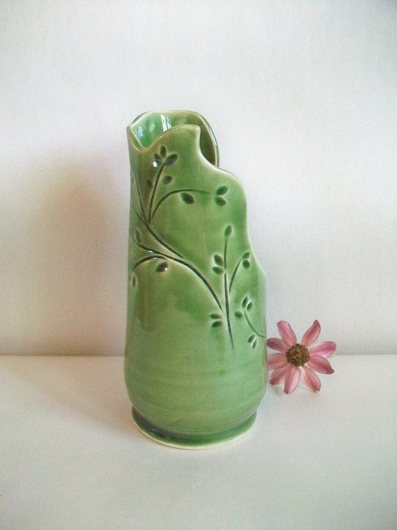 Green Vase with Hand Carved and Pressed Design -  Lovely Mothers Day Gift