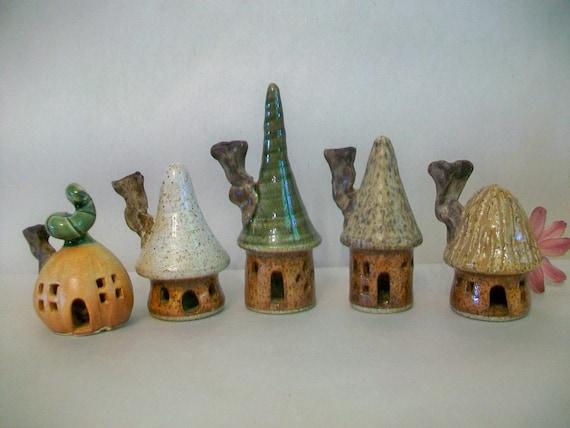 Garden Fairy Houses -  Set of 5 Houses - Handmade on Potters Wheel