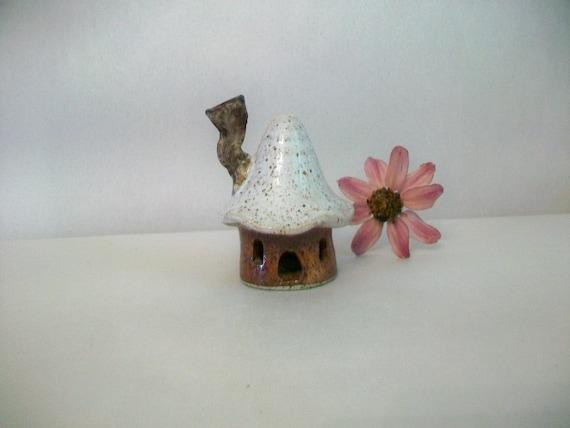 Garden Fairy House - Speckled Stoneware - Handmade on Potters Wheel