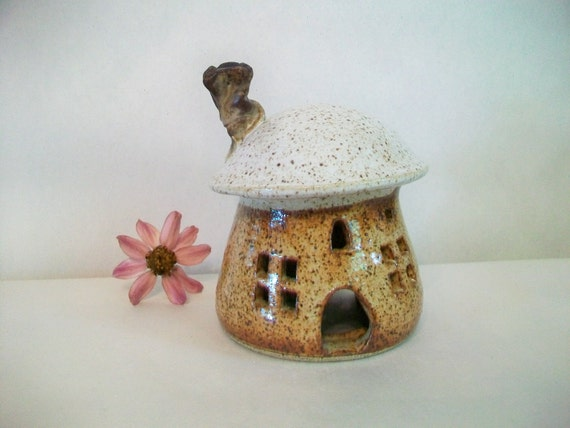 Toadstool/Fairy House/Night Light -Larger Size -  Handmade, Wheel Thrown