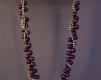 Royal Purple and silver pearl twisted choker\/necklace