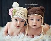 Crochet PATTERN - Flower Bear Hat - Instant download
