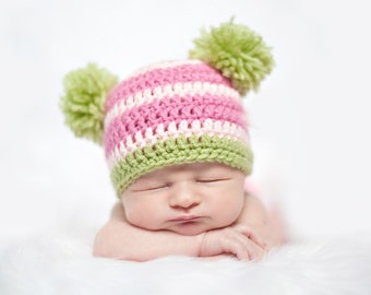 Crochet PATTERN - Double Pom Pom Beanie Hat - Instant download