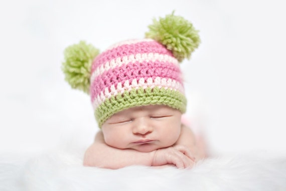 Free Crochet Pattern For Child Slouch Hat : Items similar to Crochet PATTERN - Double Pom Pom Beanie ...