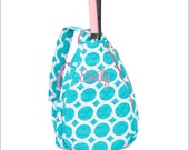 Personalized Quilted Tennis Racquet Bag/Backpack, MANY Uses-Gymnastics, Dance - Lots O' Dots - Turquoise