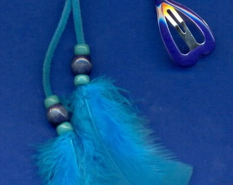 Feather Hair Clip, Barrette, FC-236, Wood and Glass Beads
