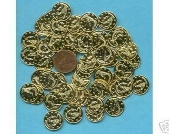 100 Pack of Gold colored Coins, 16mm