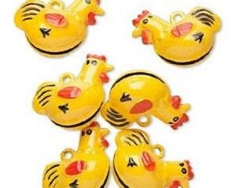 6 Brass and Enamel Bells, Yellow Chicken, 21x25mm