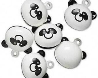 6 Brass and Enamel Bells, Panda Bear, 20x18mm